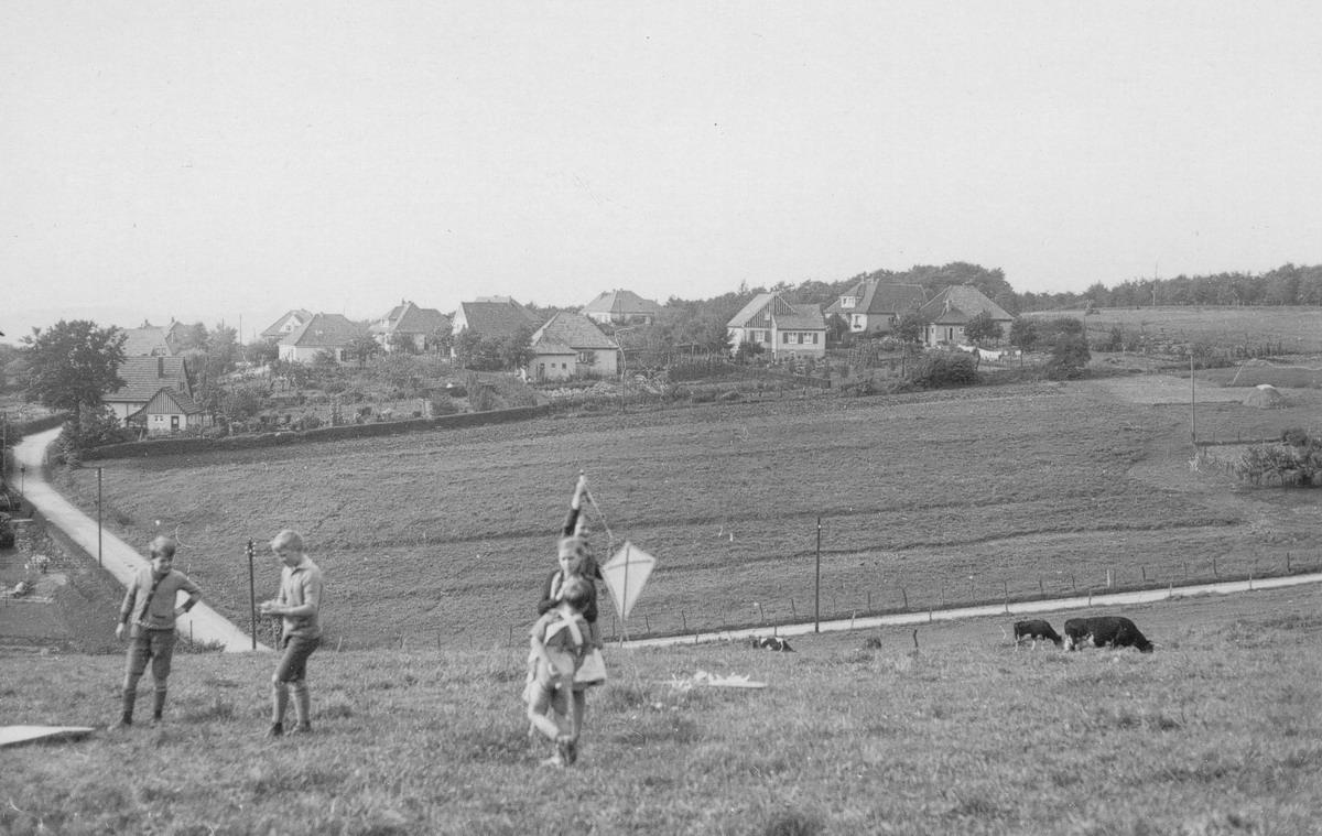 Spielende Kinder auf der Wiese, wo heute die Kindertagesstätte bei der Barmer GEK ist. Links die heutige Straße Bergfrieden mit der Kriegsinvalidensiedlung.
